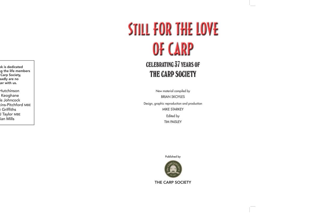 HARDBACK - Still for the love of carp