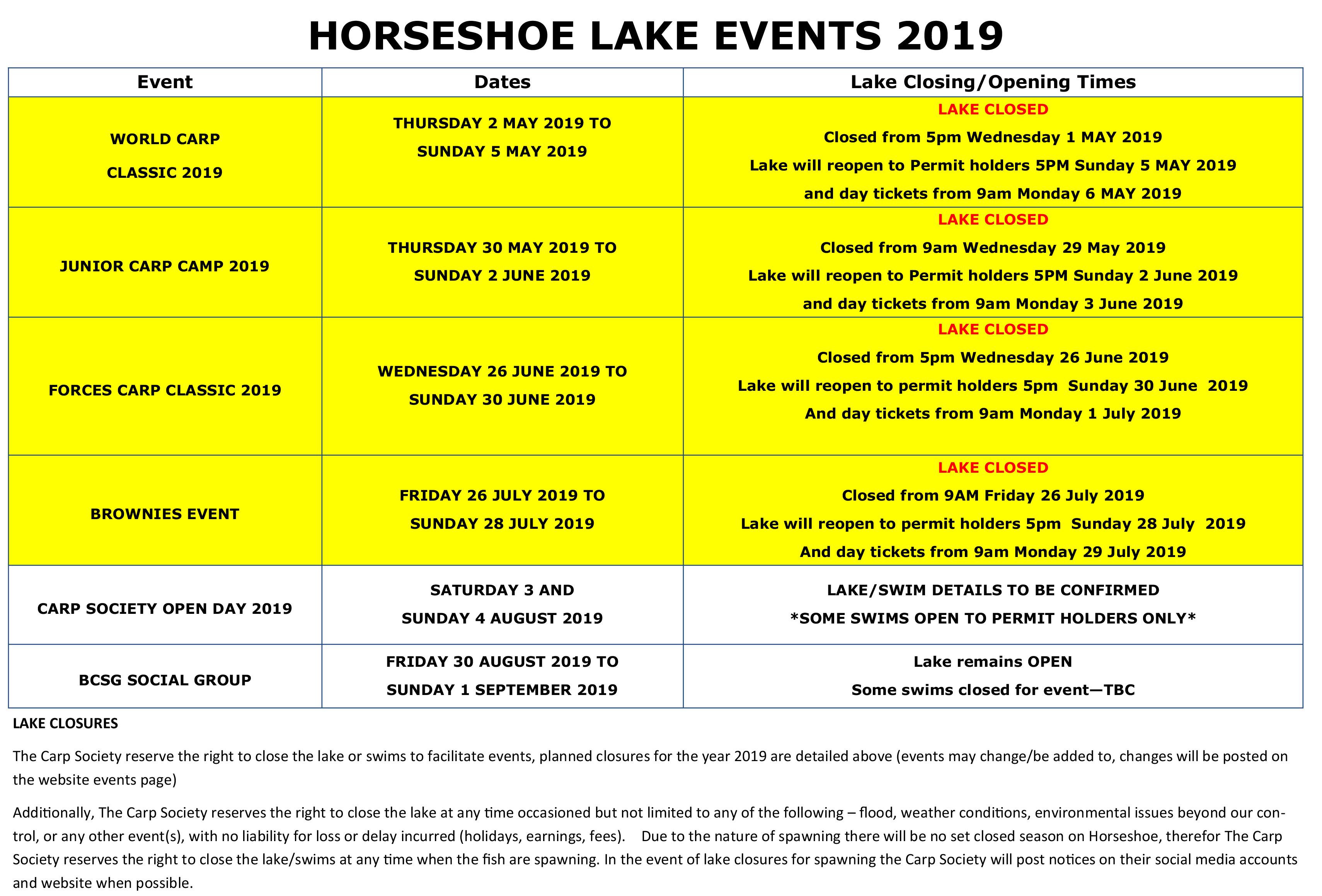 EVENTS - HORSESHOE LAKE 2019