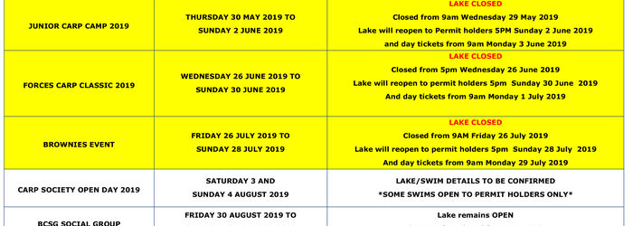 EVENTS - HORSESHOE LAKE 2019